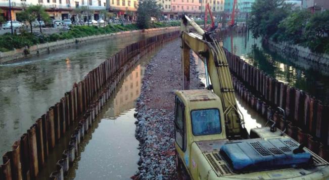 钢板桩应用于广州石井河改造工程